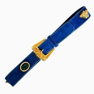 Vintage Escada Belt Blue Suede Embellished Sz 42